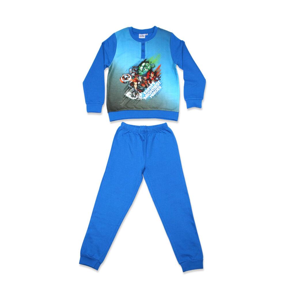 Bosszúállók hosszú ujjú kisfiú flanel pizsama - téli pamut pizsama - középkék