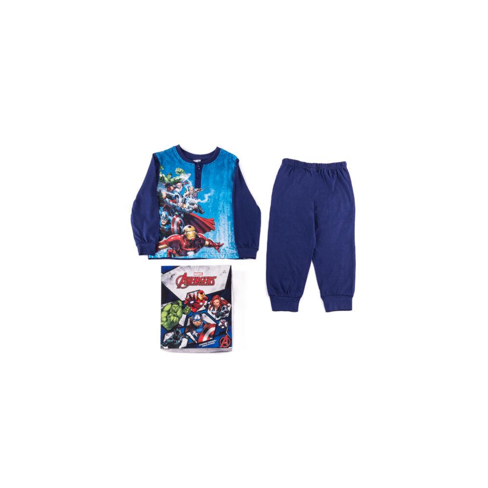 Hosszú vékony pamut gyerek pizsama - Bosszúállók - 116 - sötétkék