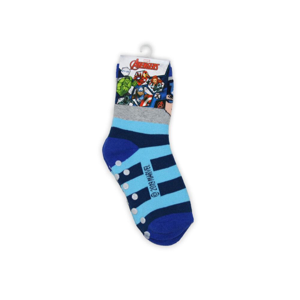 Bosszúállók kisfiú teliplüss bokazokni - csúszásgátlós zokni - szürke-kék - 23-26