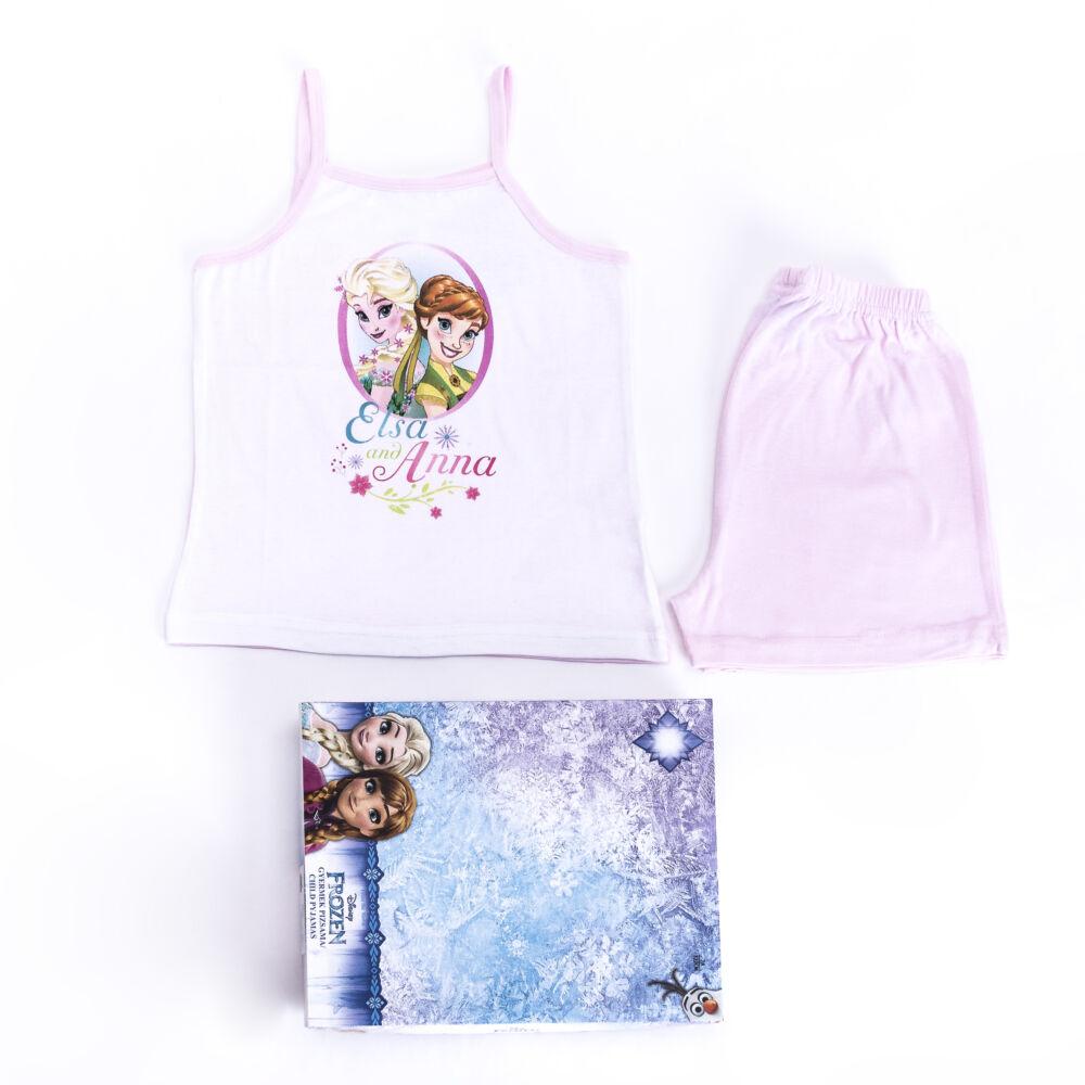 Jégvarázs kislány pamut pizsama - ujjatlan pizsama - nyári együttes - világosrózsaszín - 104