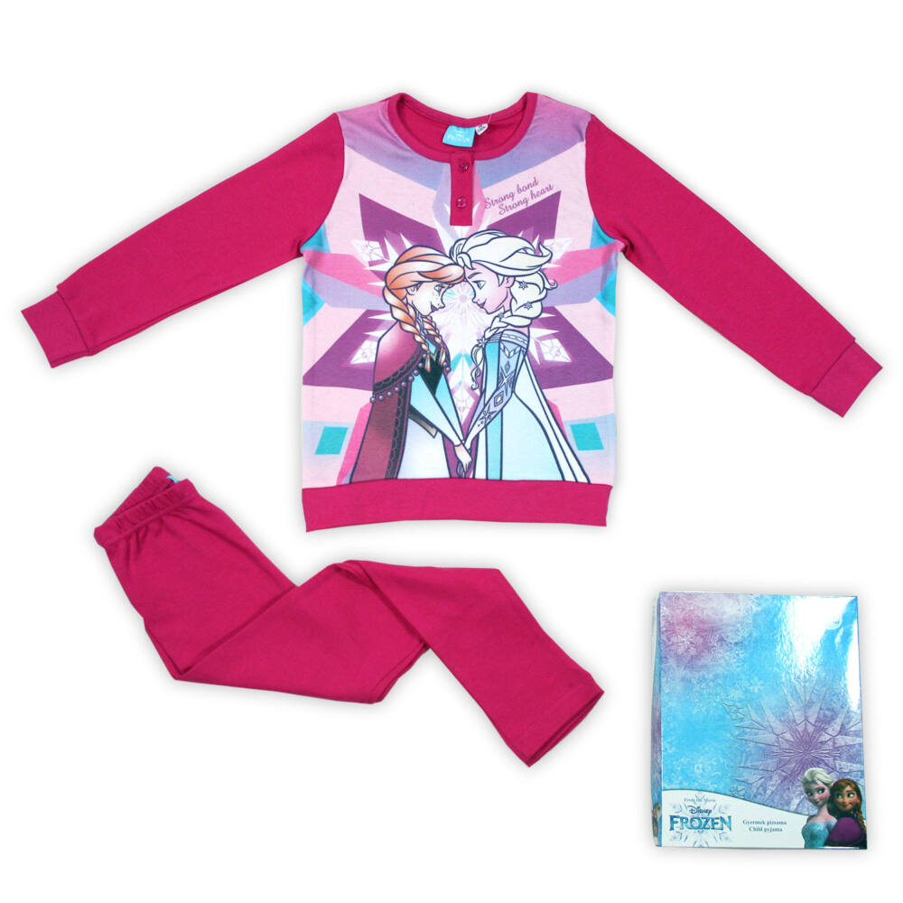 Jégvarázs kislány interlock pizsama - hosszú ujjú téli pizsama - pink - 98