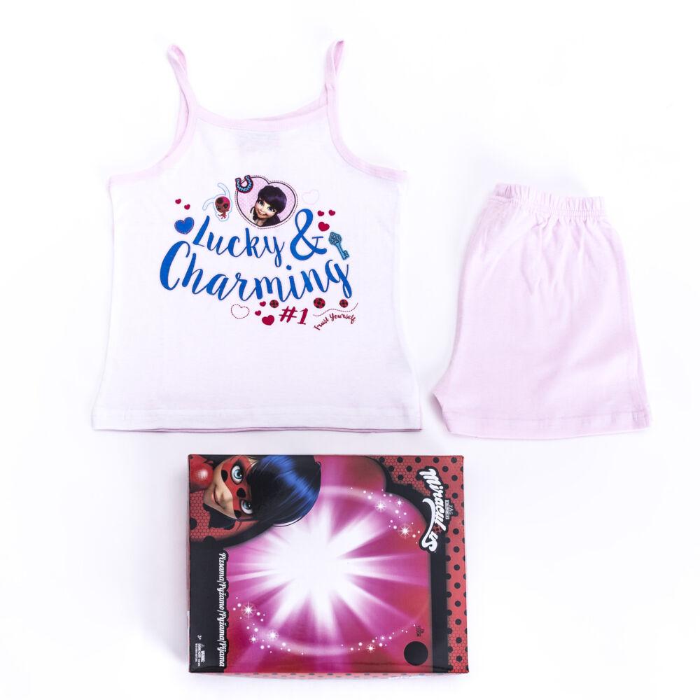 Katicabogár és Fekete Macska kalandjai kislány pamut pizsama - ujjatlan pizsama - nyári együttes - világosrózsaszín - 98