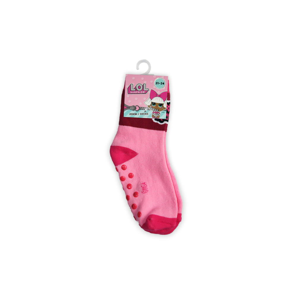 Csúszásgátlós gyerek bokazokni - LOL Baba - teliplüss - világosrózsaszín-pink-bordó - 23-26