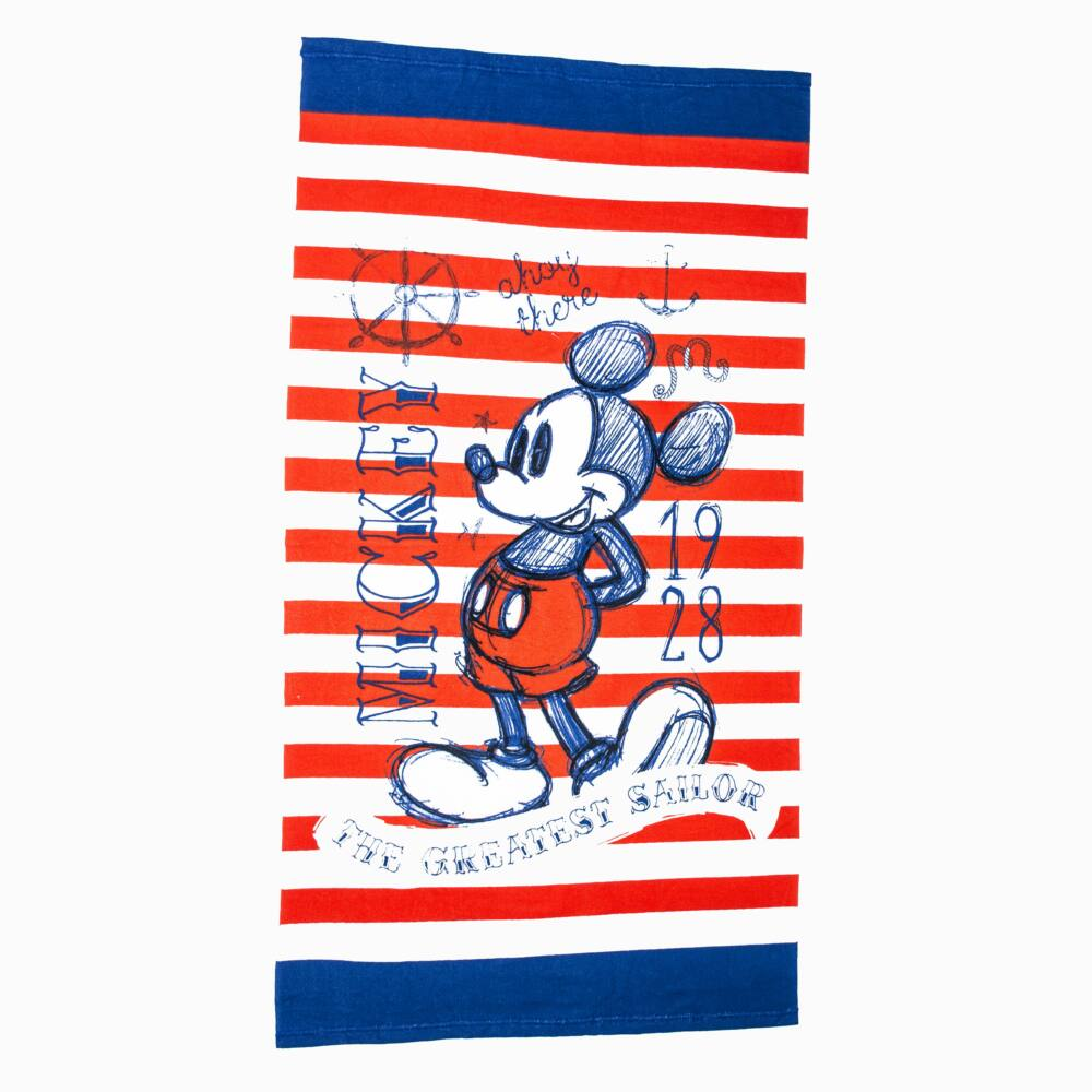 Mickey egér gyerek strandtörölköző - gyorsan száradó strandtörölköző - piros-fehér csíkos