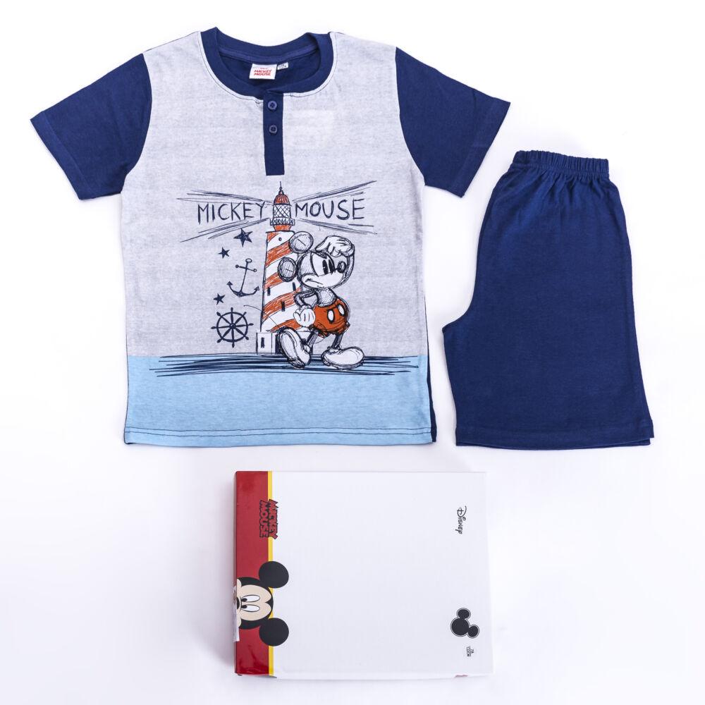 Rövid ujjú pamut gyerek pizsama - Mickey egér - sötétkék - 128