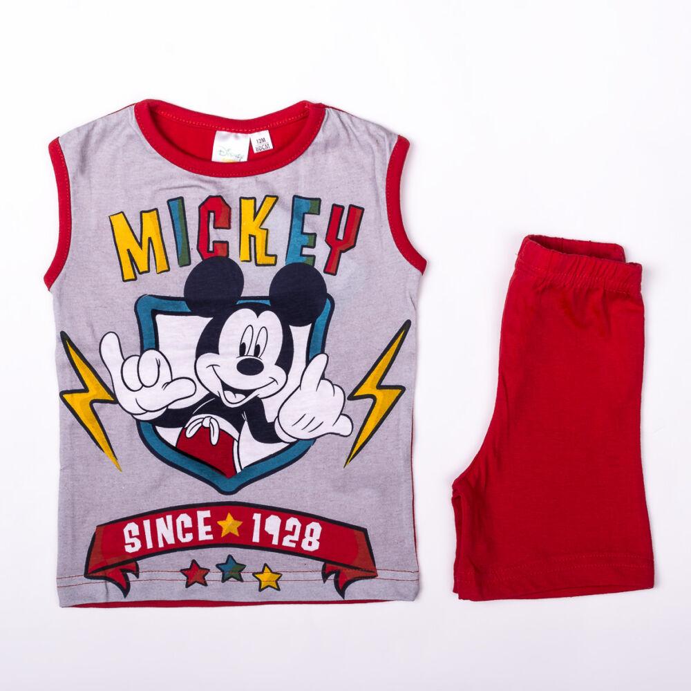 Mickey egér kisfiú pamut nyári együttes - trikó-rövidnadrág szett - piros - 86