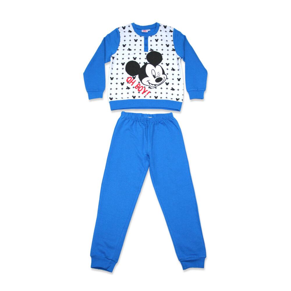 Mickey egér hosszú ujjú kisfiú flanel pizsama - téli pamut pizsama - középkék