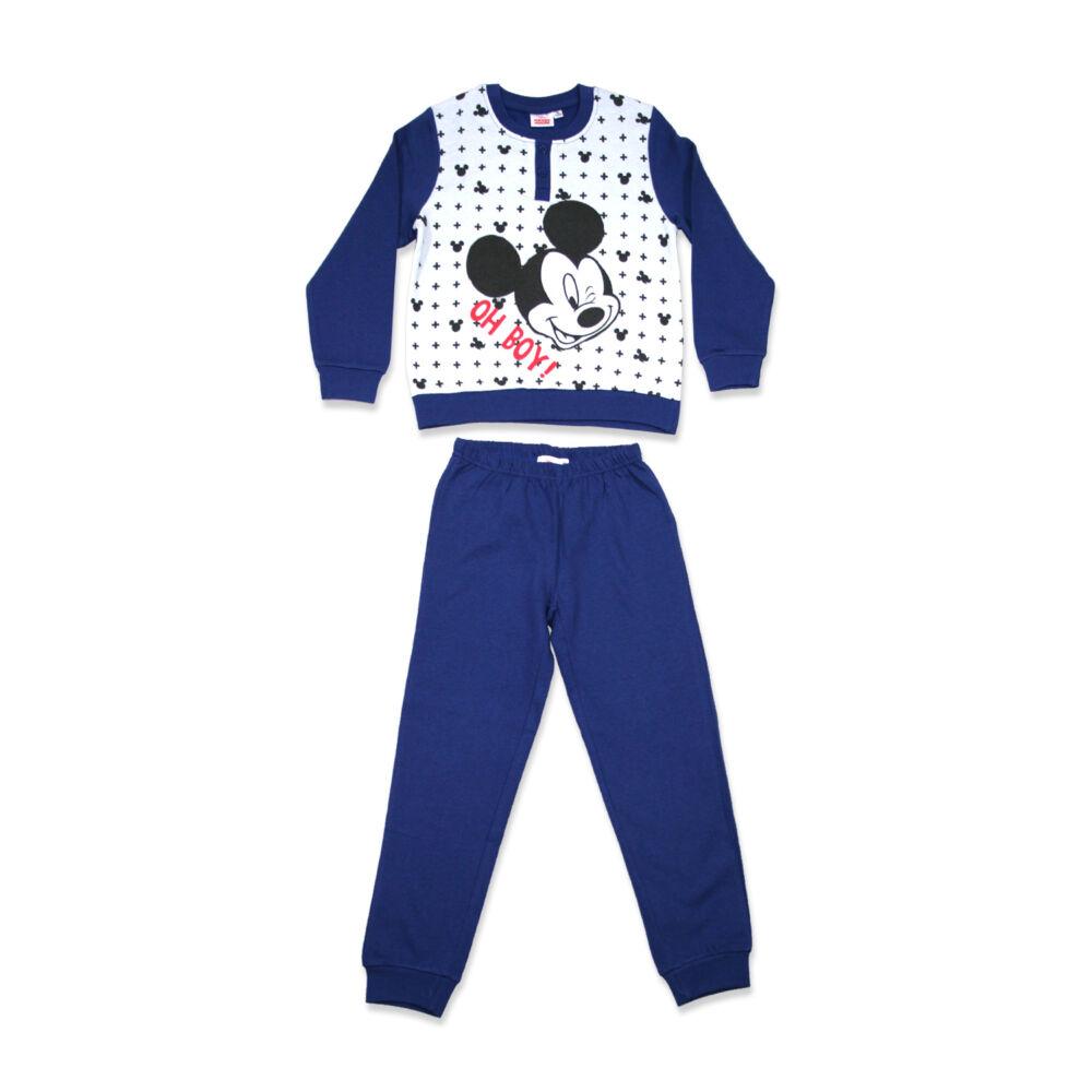 Mickey egér hosszú ujjú kisfiú flanel pizsama - téli pamut pizsama - sötétkék