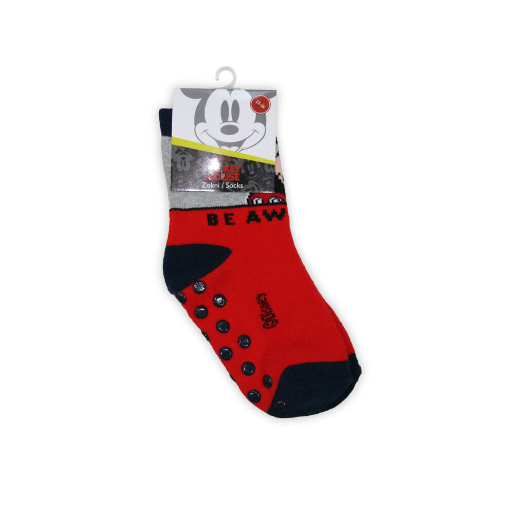 Mickey egér kisfiú teliplüss bokazokni - csúszásgátlós zokni - piros - 19-22
