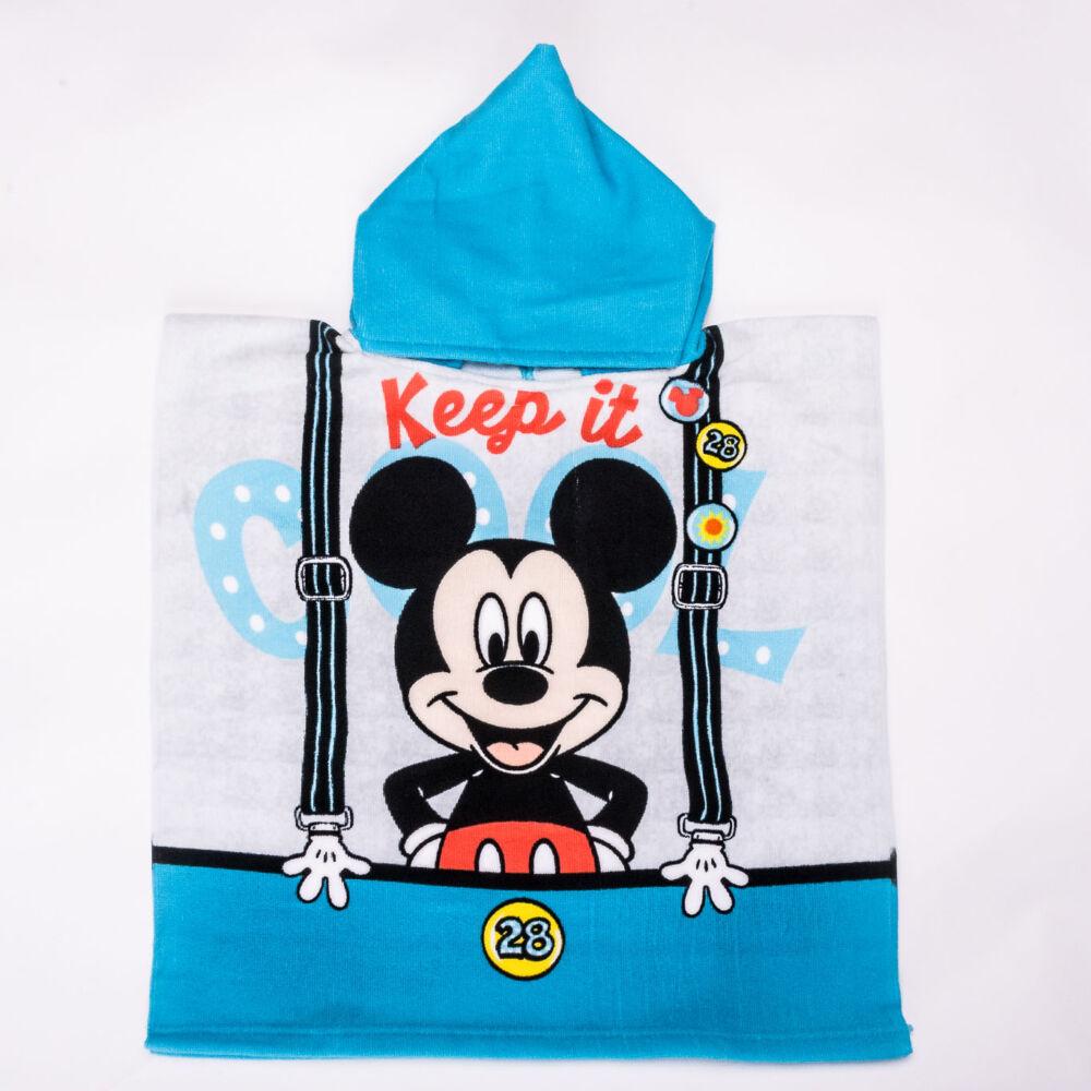 Mickey egér gyerek poncsó - gyorsan száradó kapucnis törölköző -világoskék