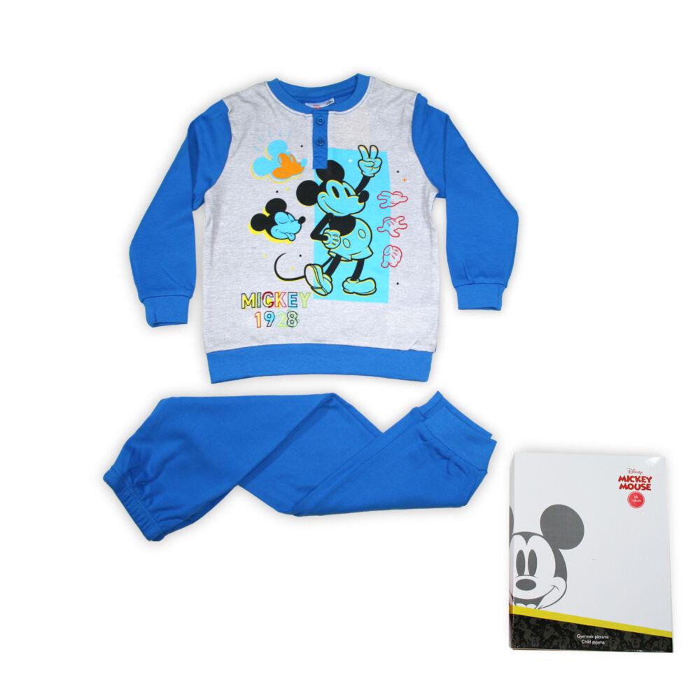 Téli pamut gyerek pizsama - Mickey egér - középkék - 98