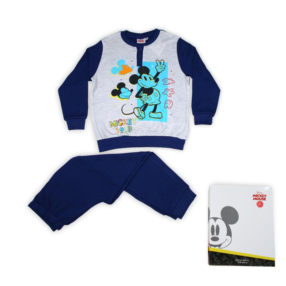 Mickey egér kisfiú interlock pizsama - hosszú ujjú téli pizsama - sötétkék - 98