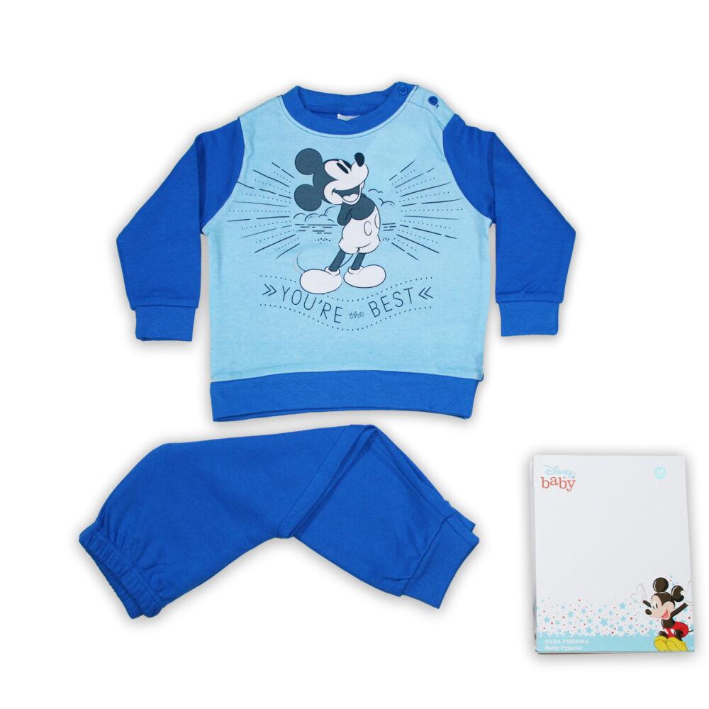 Mickey egér baba kisfiú téli pizsama -  hosszú ujjú interlock pizsama - középkék - 86