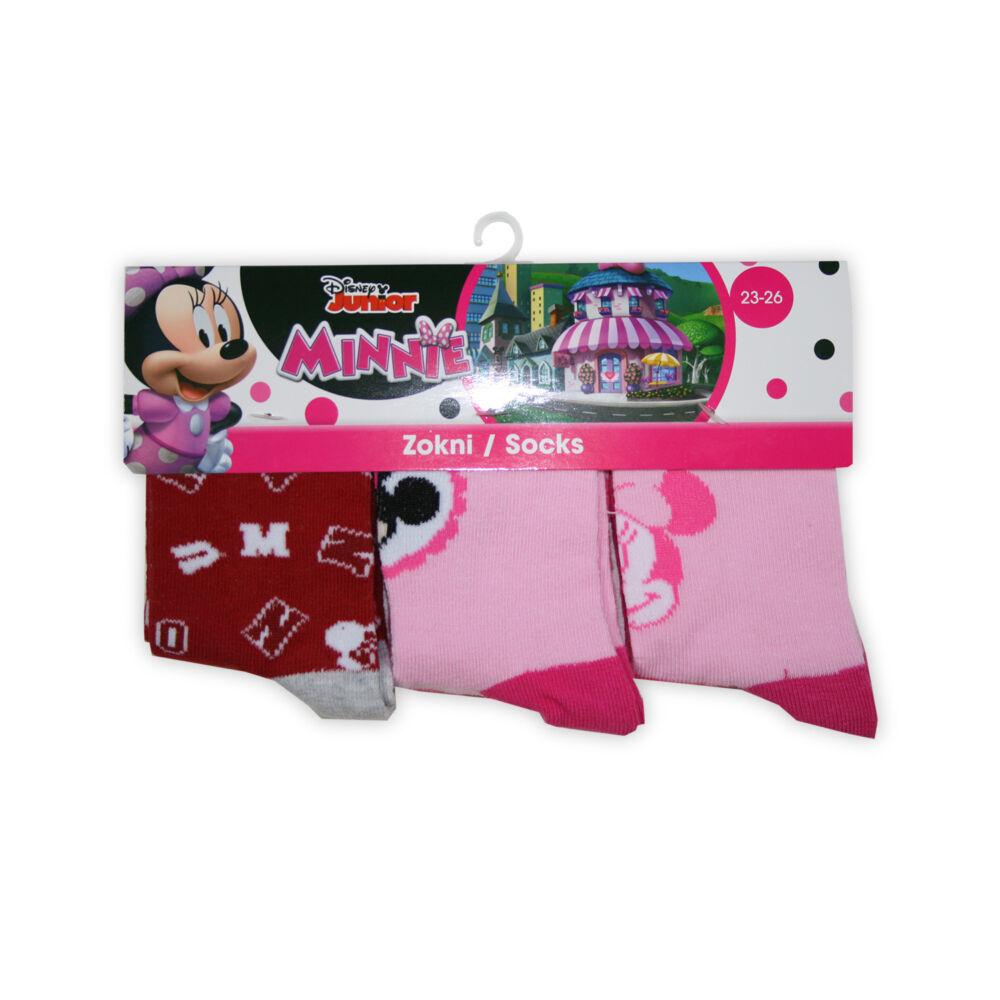 Minnie egér kislány bokazokni - 3 pár/csomag - rózsaszín-piros-rózsaszín - 27-30