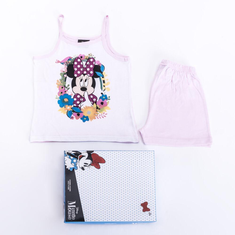Minnie egér kislány pamut pizsama - ujjatlan pizsama - nyári együttes - világosrózsaszín - 104