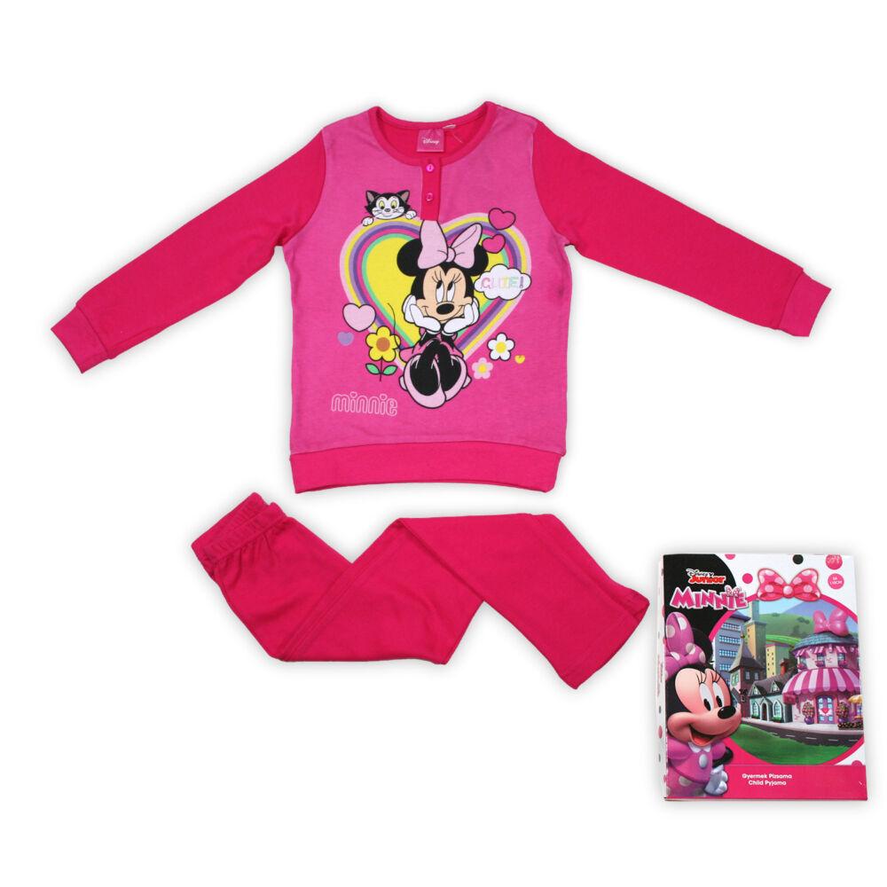 Téli pamut gyerek pizsama - Minnie egér - pink - 134
