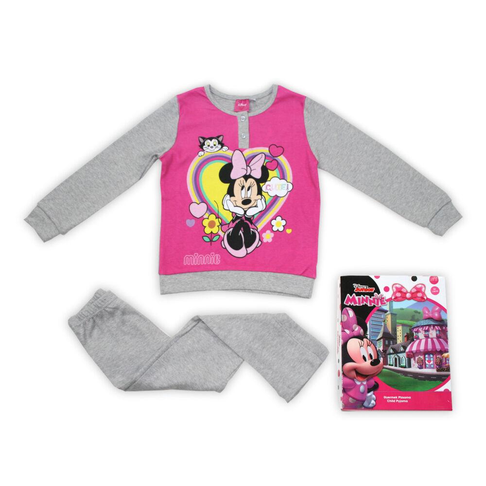 Téli pamut gyerek pizsama - Minnie egér - szürke - 104