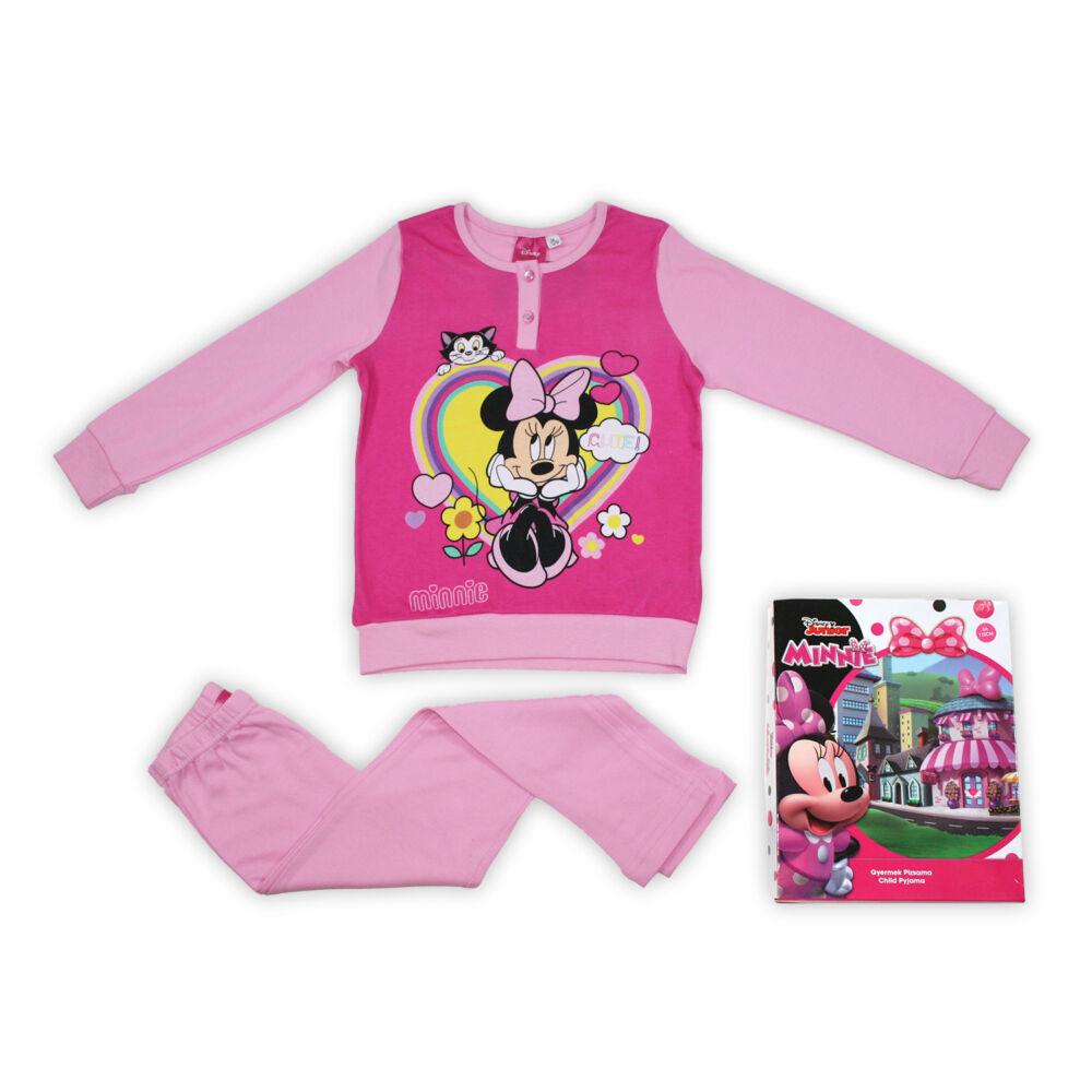 Téli pamut gyerek pizsama - Minnie egér - világosrózsaszín - 116