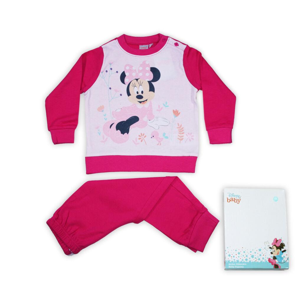 Minnie egér baba kislány téli pizsama -  hosszú ujjú interlock pizsama - pink - 92