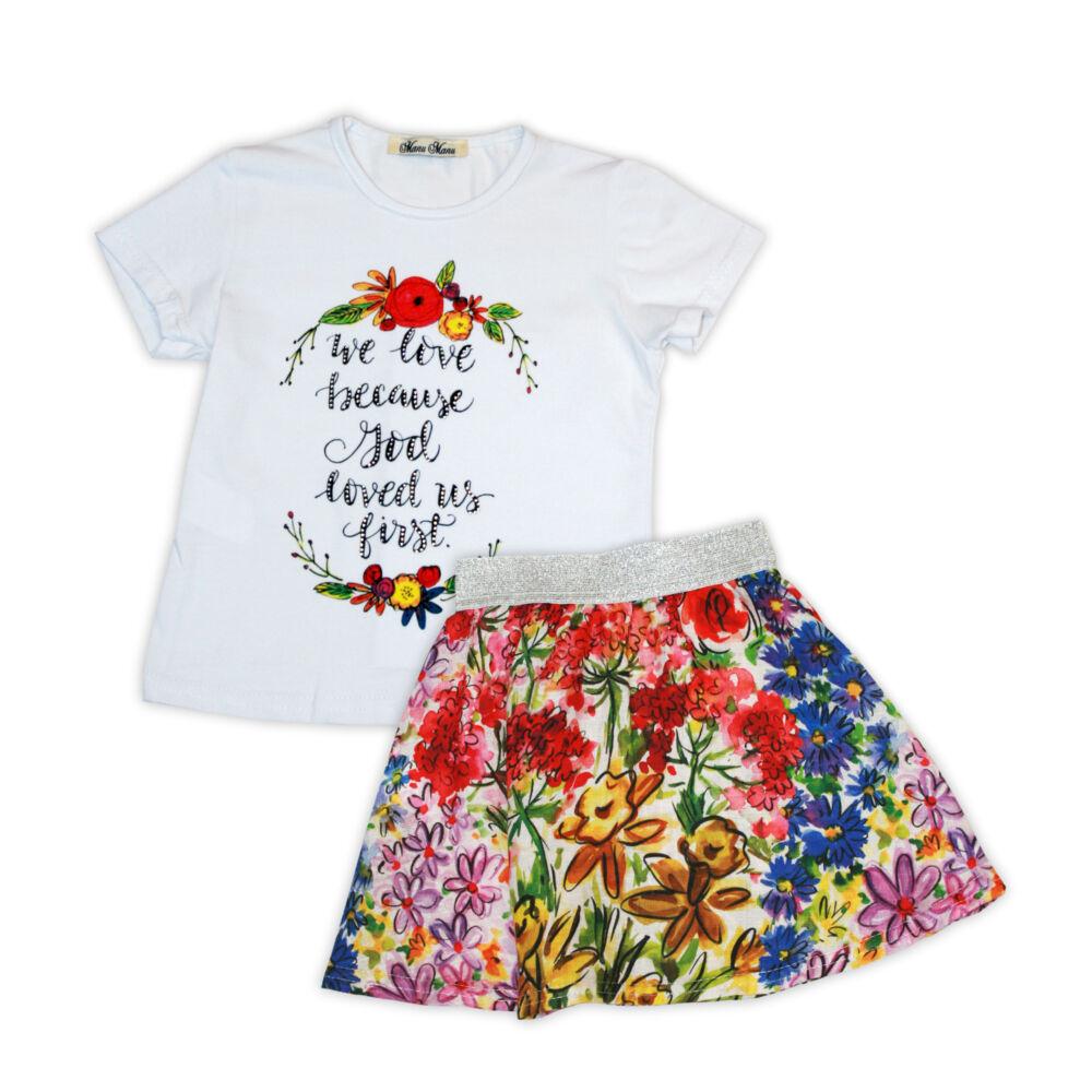 Virágmintás nyári szett kislányoknak - pamut szett - fehér-virágos - 104