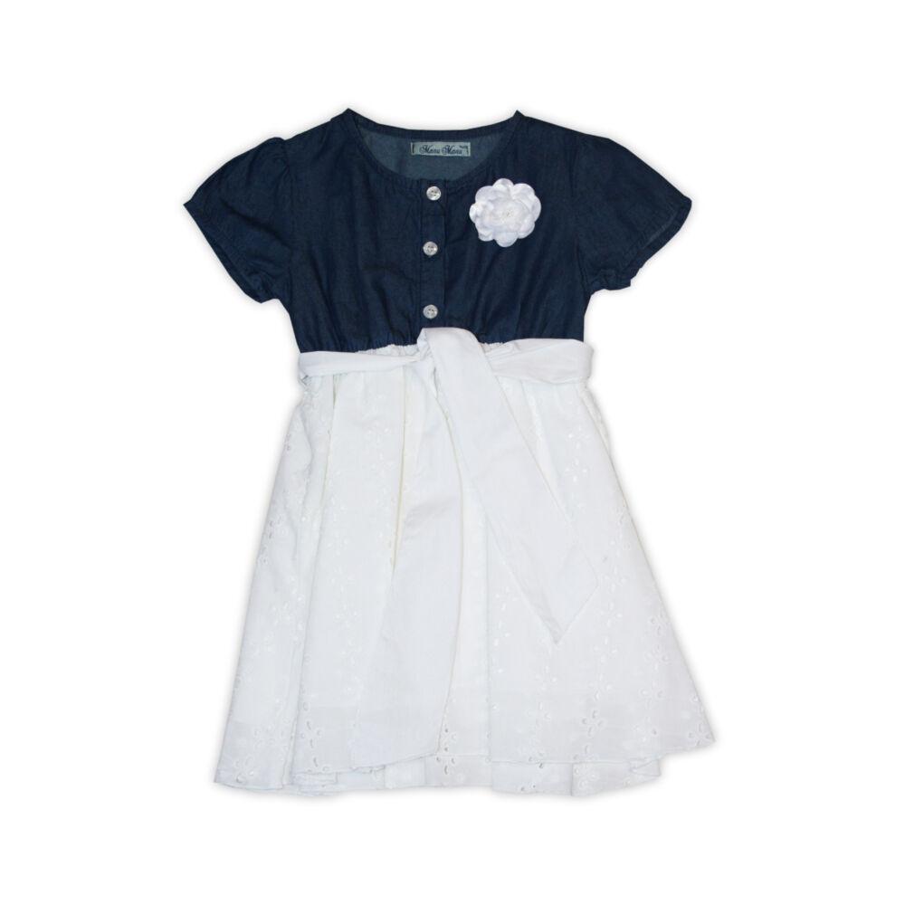 Farmer - azsúrozott anyag kombinációjú nyári kisruha - pamut ruha - fehér-farmerkék - 104