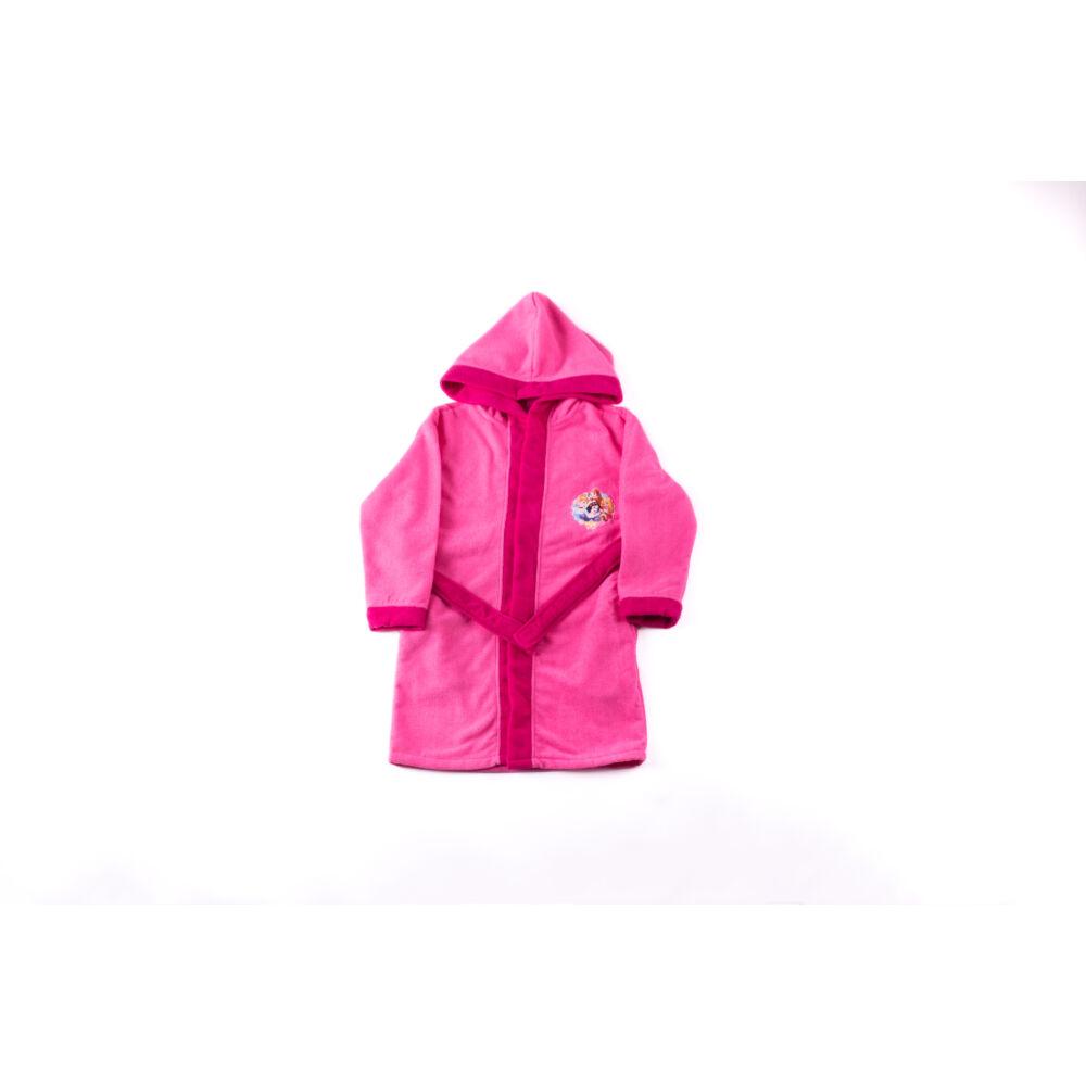 Hercegnők kapucnis gyerek köntös - mikroszálas köntös - 110-116 - rózsaszín