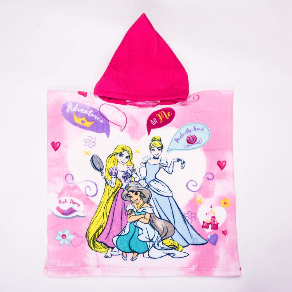 Hercegnők gyerek poncsó - gyorsan száradó kapucnis törölköző - rózsaszín