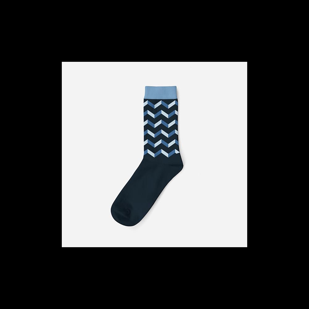 Férfi pamut zokni - kék - parkettamintás - 43-46 - Evidence