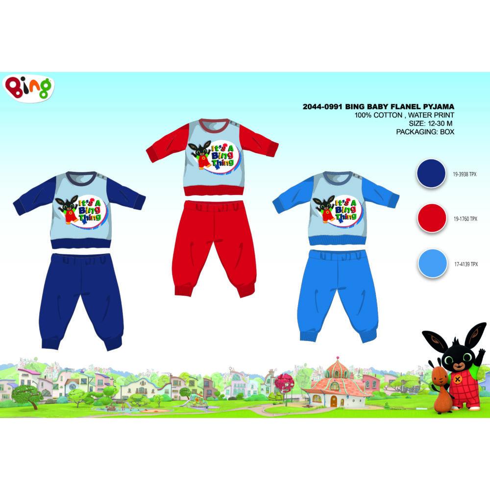 Téli vastag pamut baba pizsama - flanel pizsama - Bing nyuszi - piros - 98