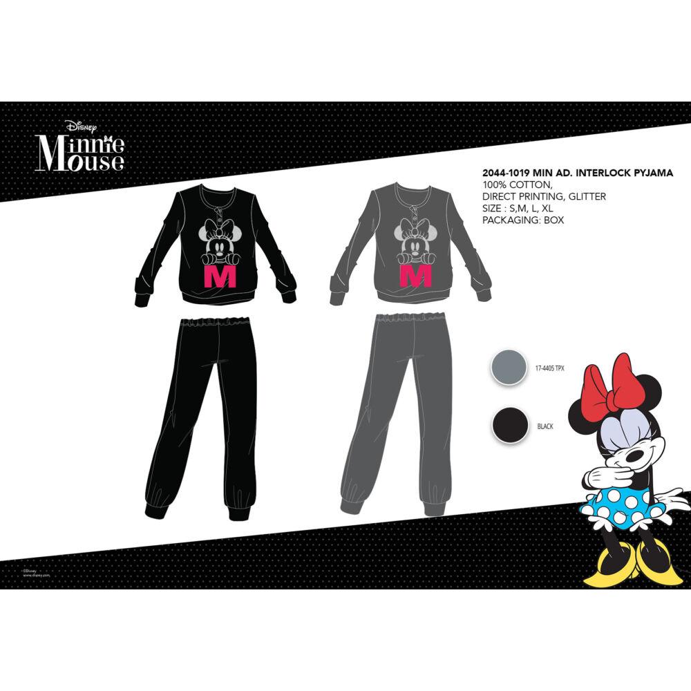Téli pamut interlock női pizsama - Disney Minnie egér - fekete - L