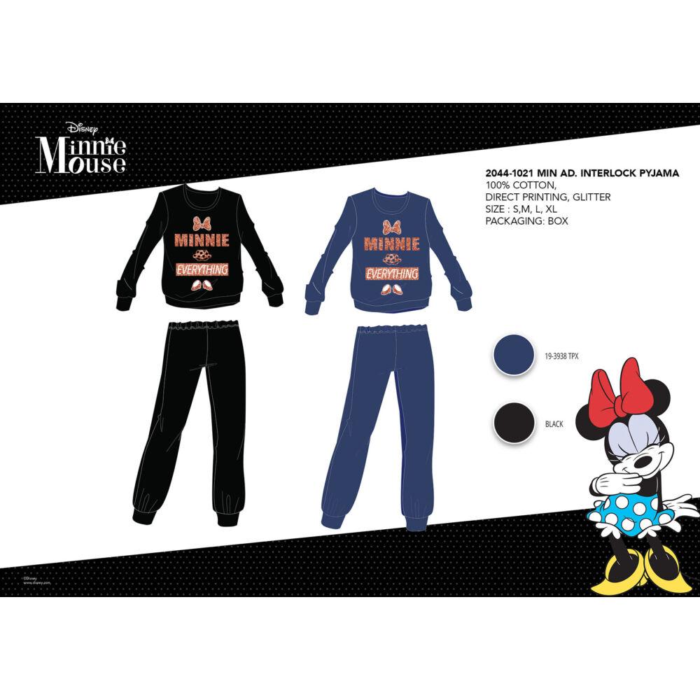 Téli pamut interlock női pizsama - Disney Minnie egér - Minnie Everything felirattal - fekete - M