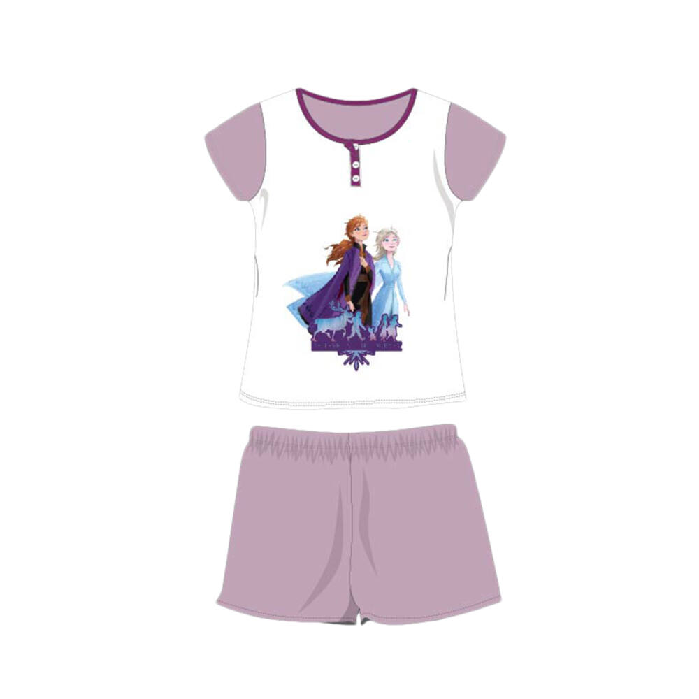 Nyári rövid ujjú gyerek pamut pizsama - Disney Jégvarázs - Anna és Elza - világoslila - 98