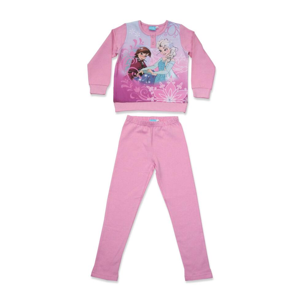 Téli flanel gyerek pizsama - Jégvarázs - világosrózsaszín - 140
