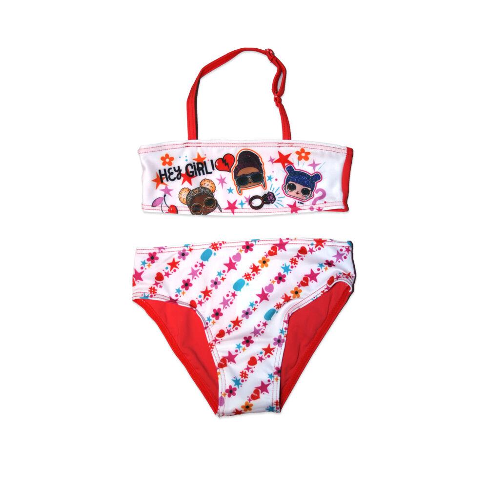 LOL Baba kétrészes fürdőruha kislányoknak - Hey girl felirattal - piros - 98