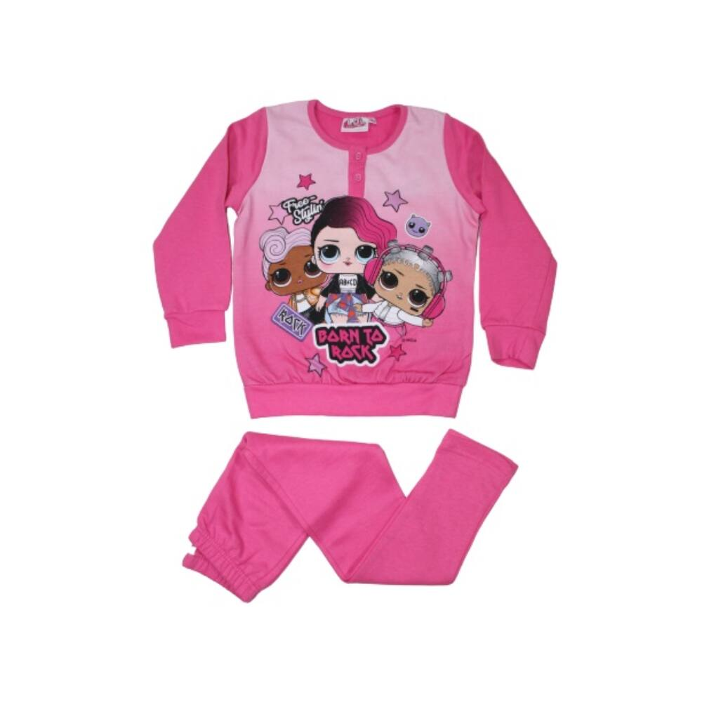 Téli flanel gyerek pizsama - LOL Baba - rózsaszín - 98