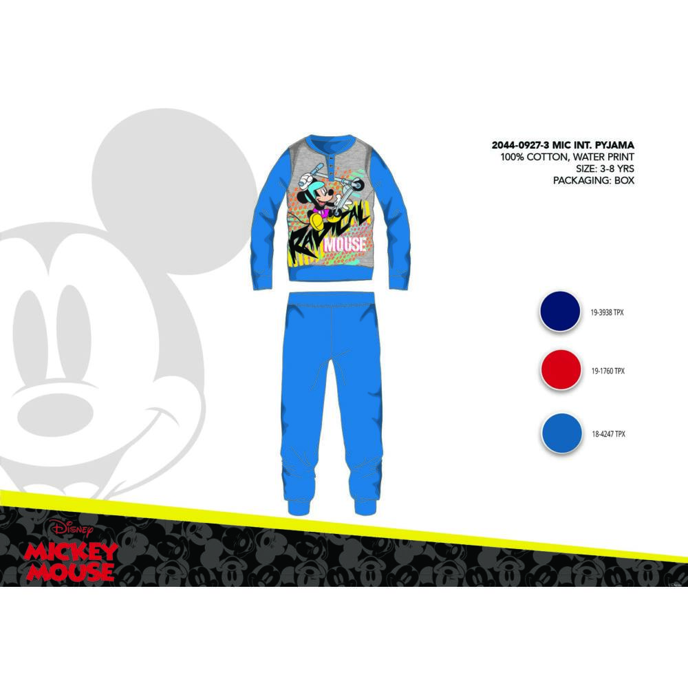 Téli pamut interlock gyerek pizsama - Disney Mickey egér - középkék - 116