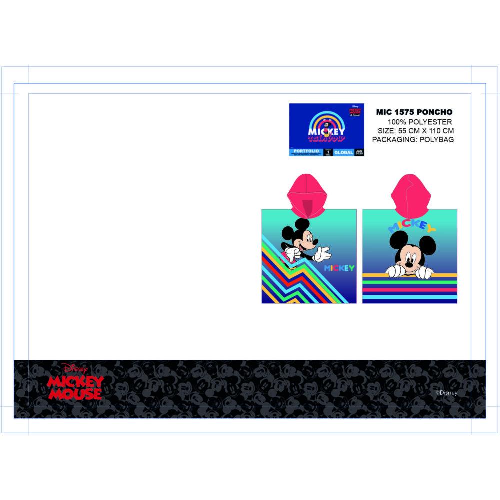 Disney Mickey egér gyerek poncsó - piros kapucnival - 55x110