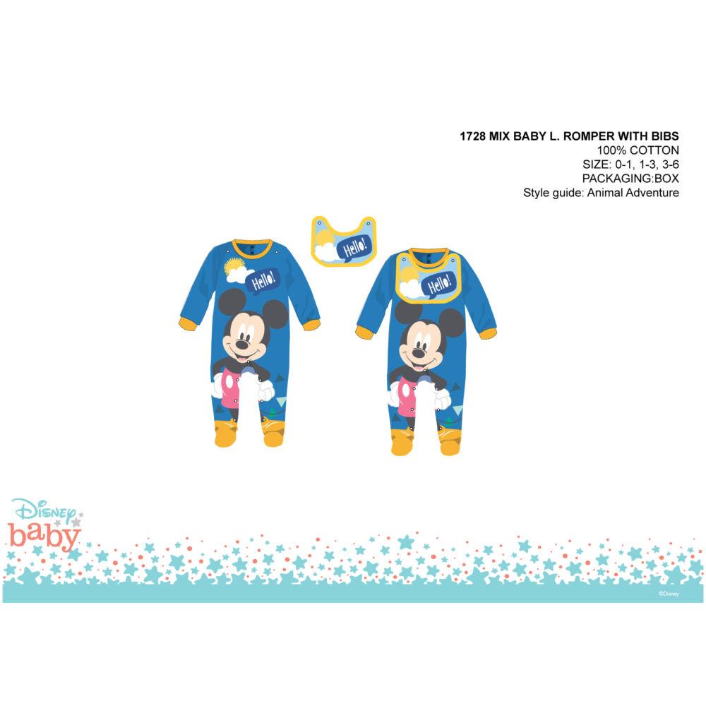 Disney Mickey egér baba rugdalózó előkével - középkék - 1-3 hónapos babának
