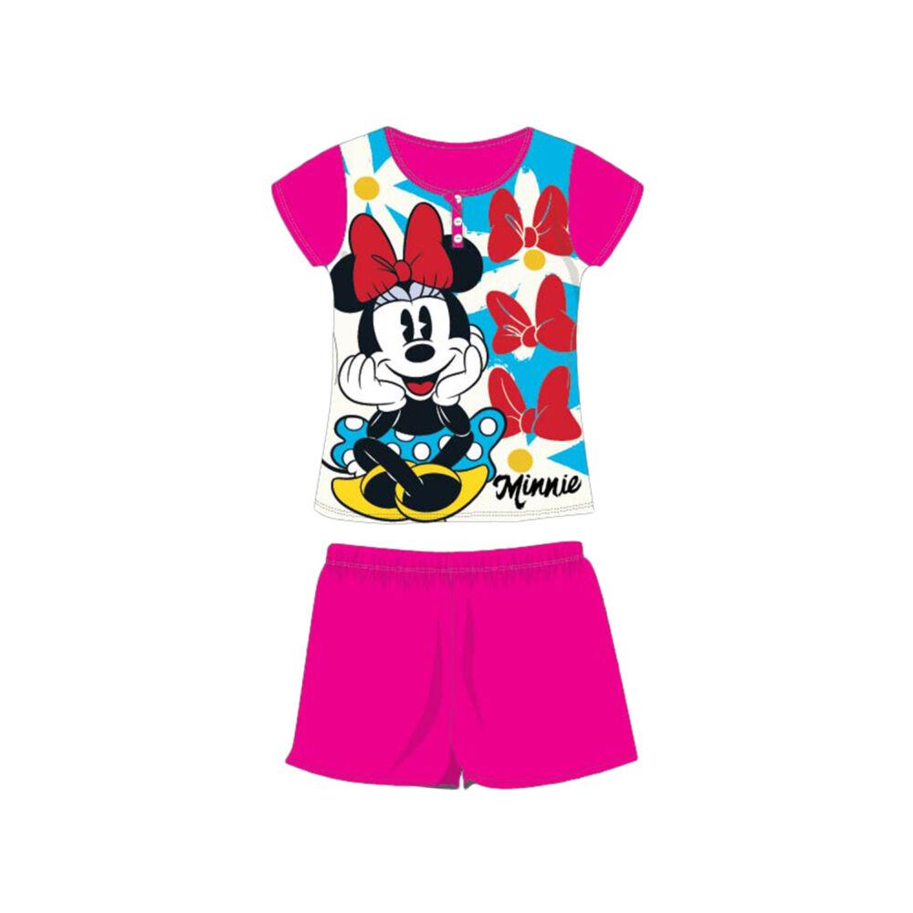 Nyári rövid ujjú gyerek pamut pizsama - Disney Minnie egér - pink - 98