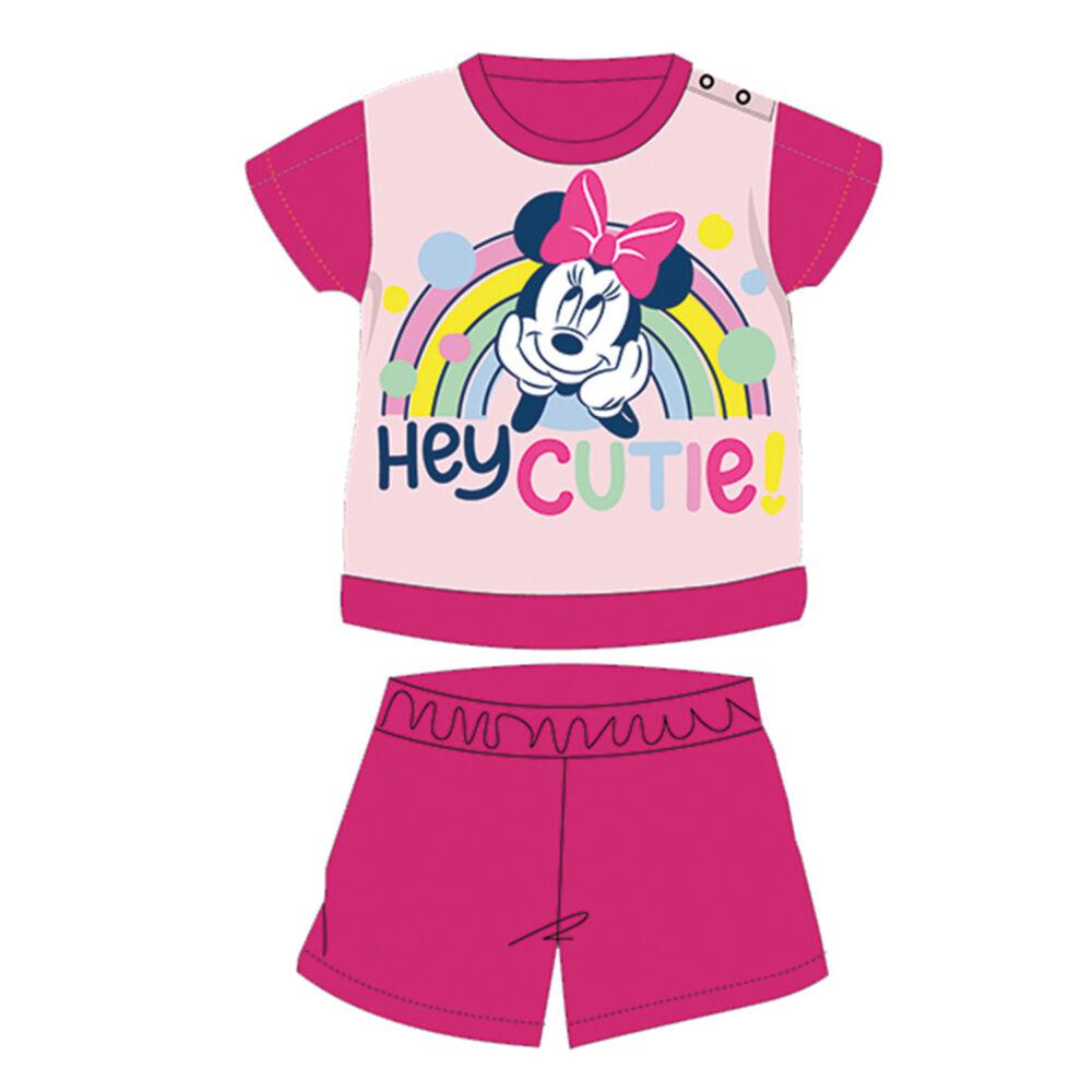Nyári rövid ujjú pamut baba pizsama - Disney Minnie egér - pink - 92