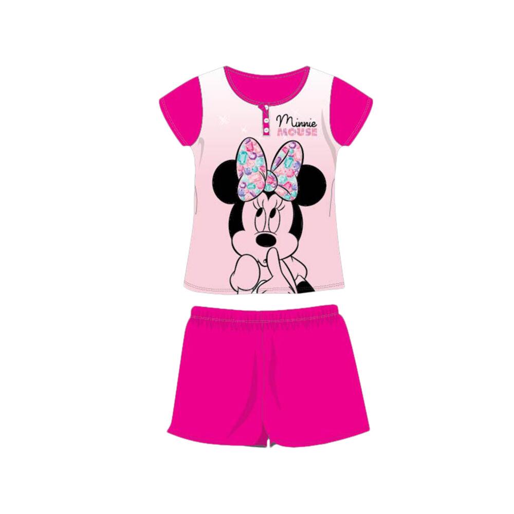 Nyári rövid ujjú gyerek pamut pizsama - Disney Minnie egér - Minnie felirattal - pink - 98