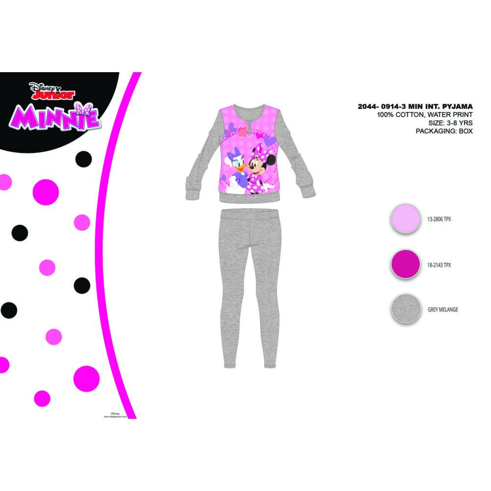 Téli pamut interlock gyerek pizsama - Disney Minnie egér - szürke - 140