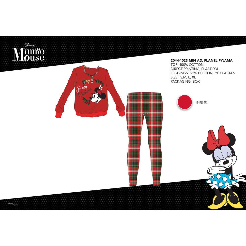 Téli vastag pamut női pizsama - flanel pizsama - Disney Minnie egér - piros - S
