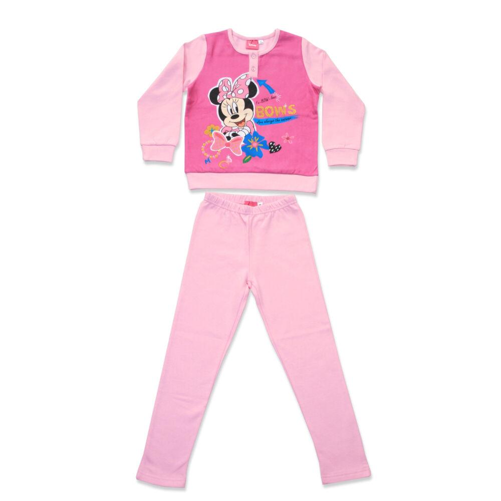 Téli flanel gyerek pizsama - Minnie egér - világosrózsaszín - 134