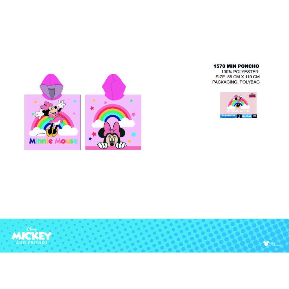 Disney Minnie egér gyerek poncsó - pink kapucnival - szivárvány mintával - 55x110