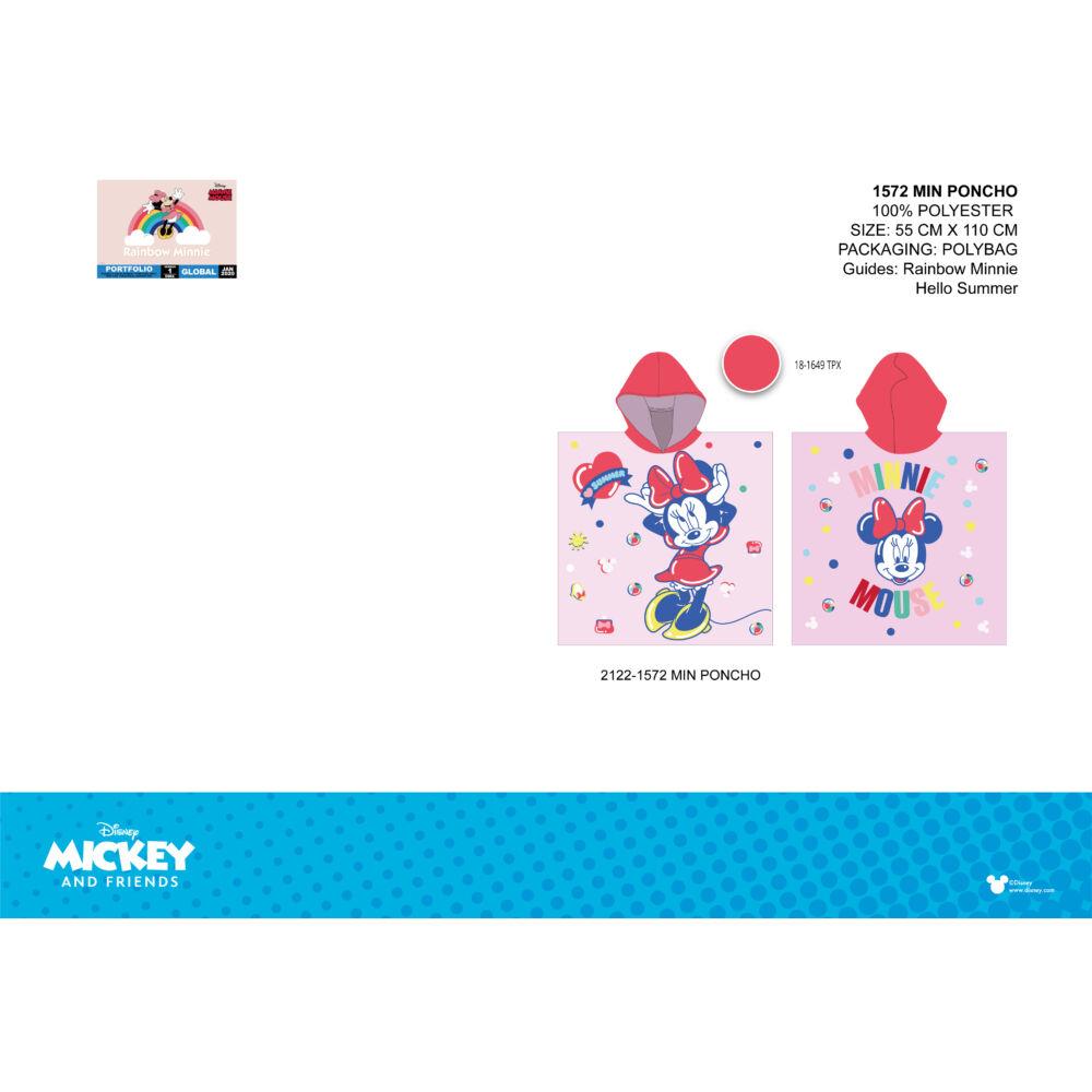 Disney Minnie egér gyerek poncsó - piros kapucnival - 55x110