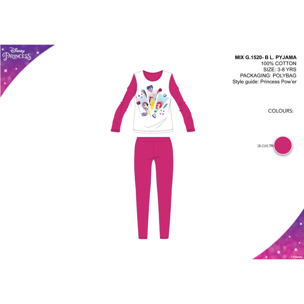 Disney Hercegnők gyerek jersey pizsama - pink - 104