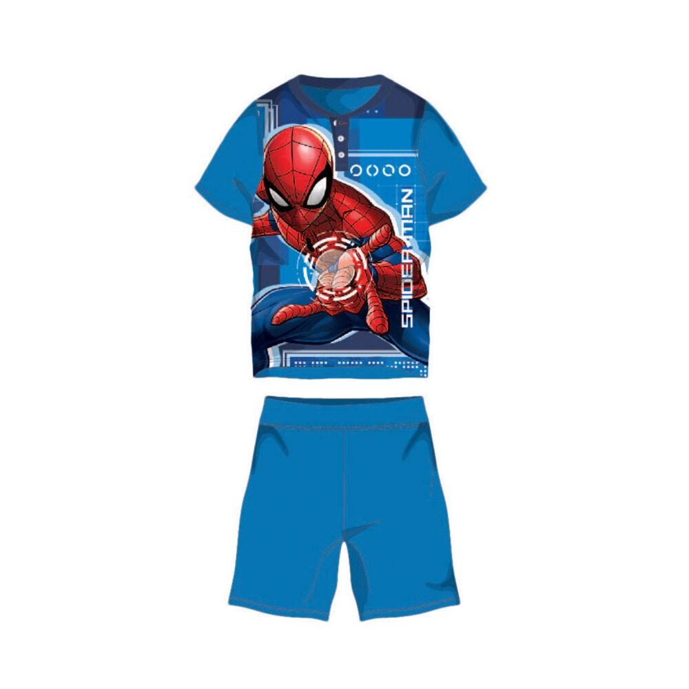 Nyári rövid ujjú gyerek pamut pizsama - Pókember - Spiderman felirattal - középkék - 98
