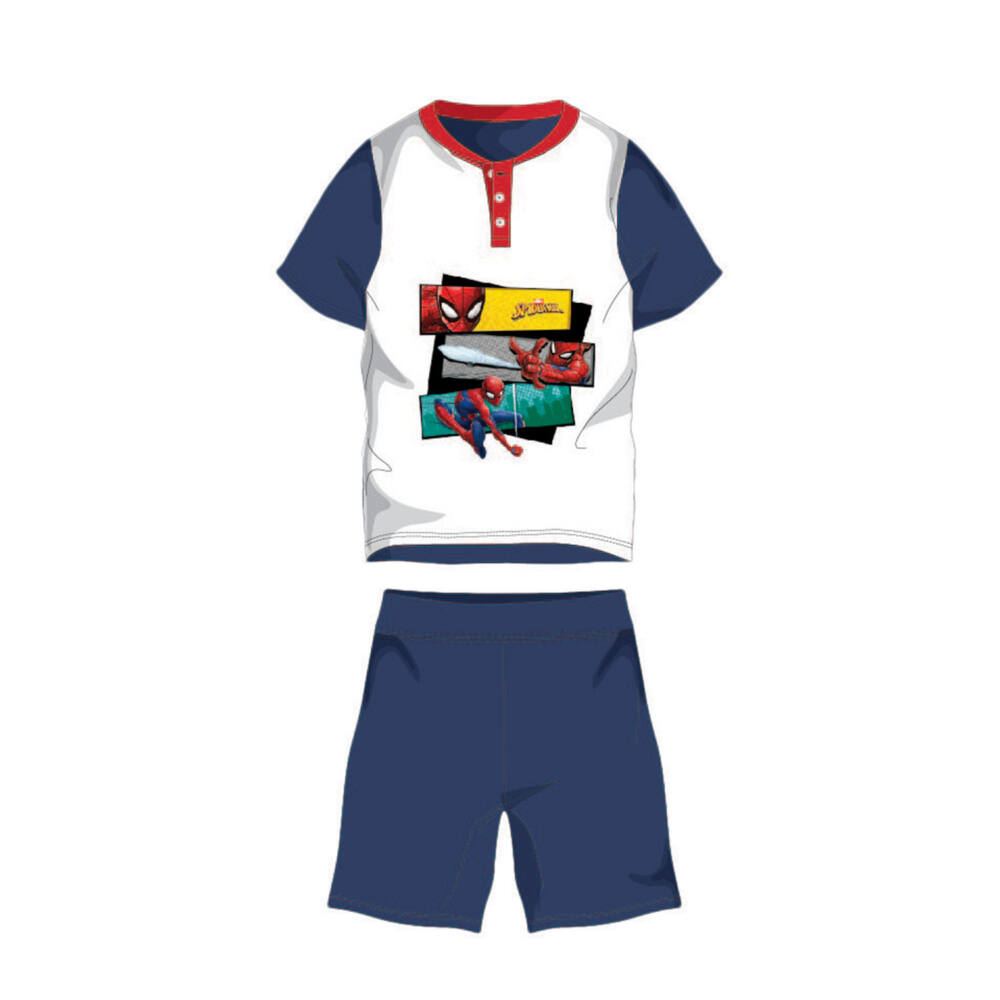 Nyári rövid ujjú gyerek pamut pizsama - Pókember - Spiderman felirattal - sötétkék - 98