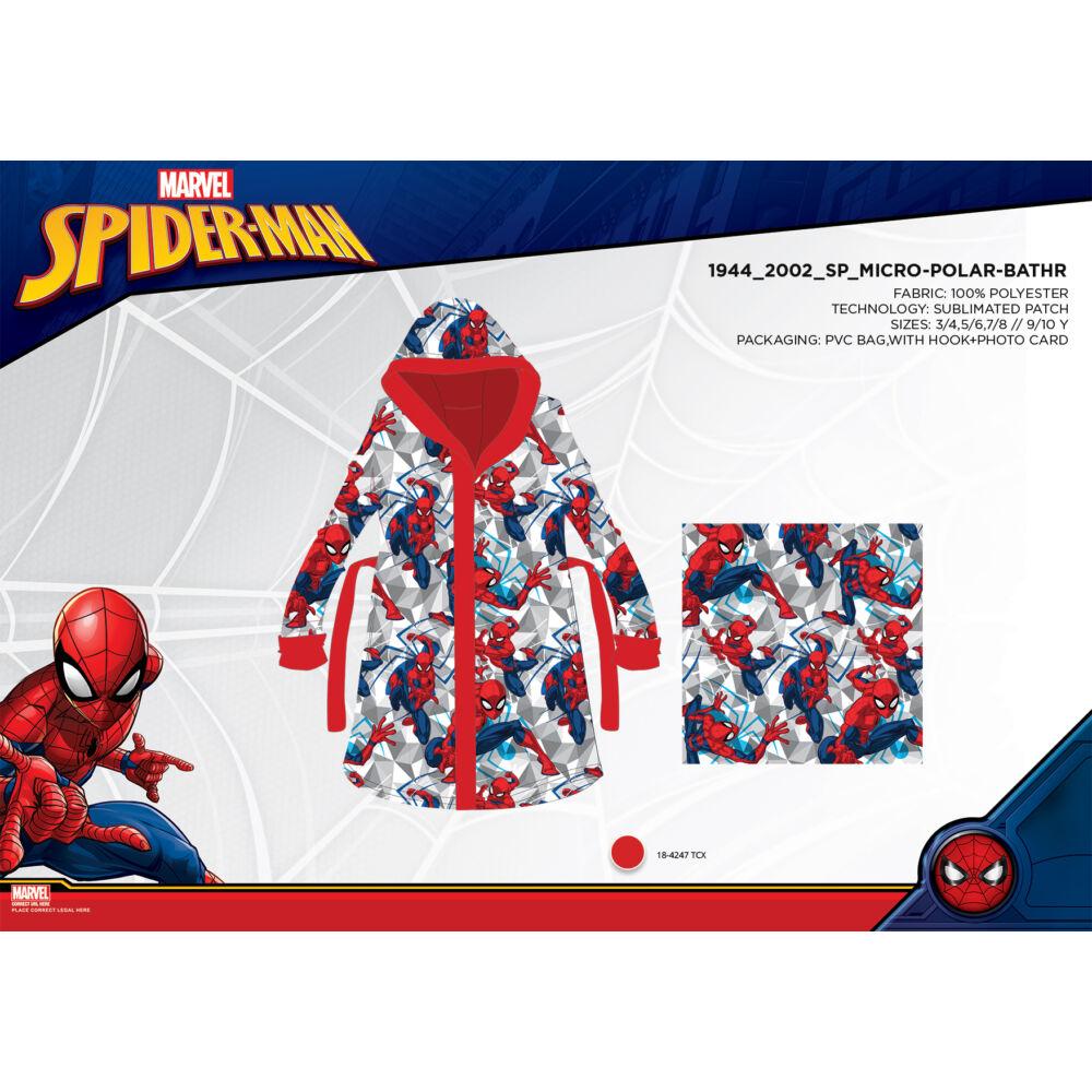 Mikroszálas kapucnis köntös gyerekeknek - Pókember - 98-104